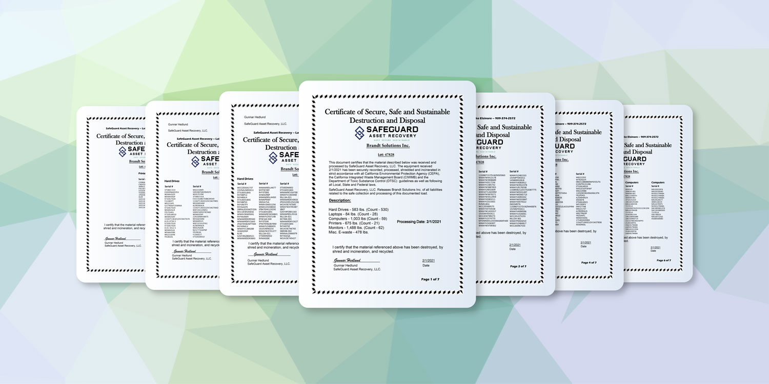 SafeGuard Asset Recovery Report Samples fanned out on display for ITAD solutions